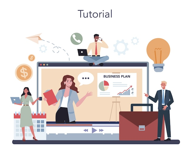 Usługa Lub Platforma Online Dla Biznesmenów. Premium Wektorów