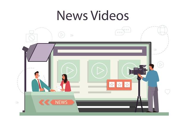 Usługa Lub Platforma Online Dla Prezentera Telewizyjnego Premium Wektorów