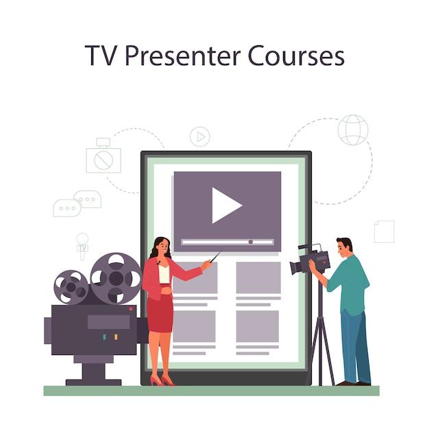 Usługa Lub Platforma Online Dla Prezenterów Telewizyjnych Premium Wektorów