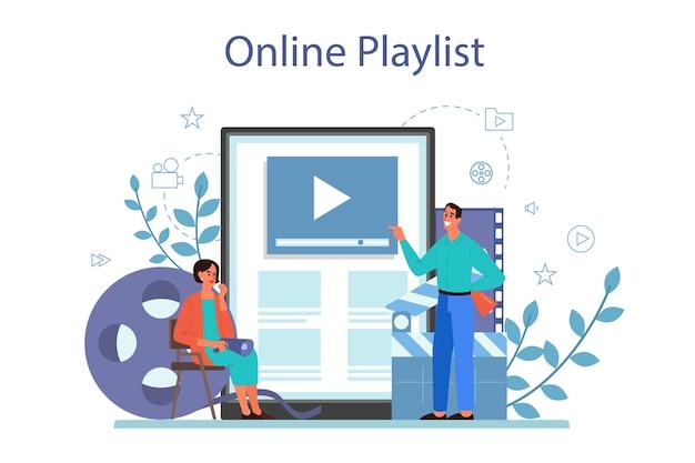 Usługa Lub Platforma Online Do Reżyserowania Filmów. Idea Kreatywnych Ludzi Premium Wektorów