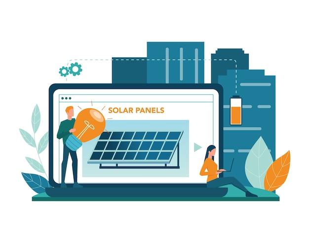 Usługa Lub Platforma Online W Zakresie Energii Alternatywnej. Idea Ekologii Kunsztownie Moc. Sklep Z Panelami Słonecznymi. Ilustracji Wektorowych Premium Wektorów