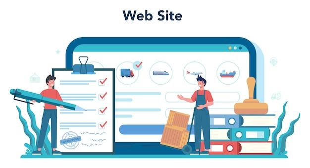 Usługa Lub Platforma Usług Logistycznych I Dostawczych Online. Idea Transportu I Dystrybucji. Stronie Internetowej. Premium Wektorów