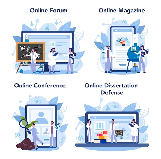 Usługa Online Lub Zestaw Platform Dla Naukowców Premium Wektorów