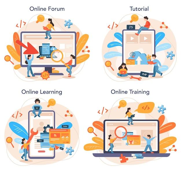 Usługa Online Lub Zestaw Platform Do Tworzenia Zaplecza Premium Wektorów