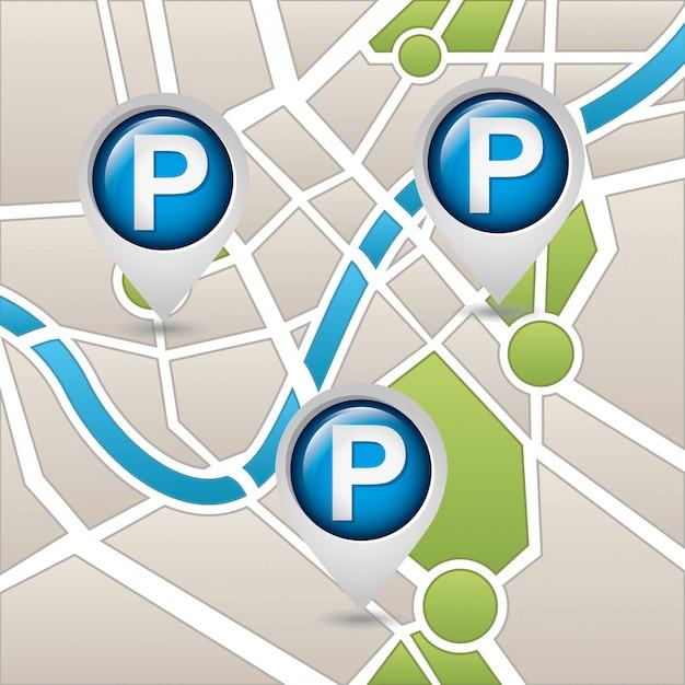 Usługa parkowania, mapa Darmowych Wektorów