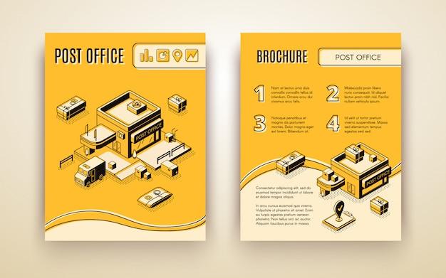 Usługa pocztowa lub kurierska, broszura reklamowa izometryczna wektor biznesu firmy logistycznej Darmowych Wektorów