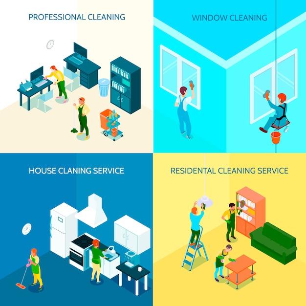 Usługa Sprzątania Skład Izometryczny Darmowych Wektorów
