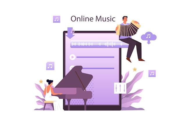 Usługa Strumieniowego Przesyłania Muzyki I Koncepcja Platformy. Współczesny Wykonawca Popu Lub Muzyki Klasycznej, Muzyk Lub Kompozytor. Przesyłanie Strumieniowe Muzyki Online Z Innego Urządzenia. Płaskie Ilustracji Wektorowych Premium Wektorów