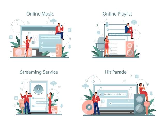 Usługa Strumieniowego Przesyłania Muzyki I Zestaw Platform. Przesyłanie Strumieniowe Muzyki Online Premium Wektorów