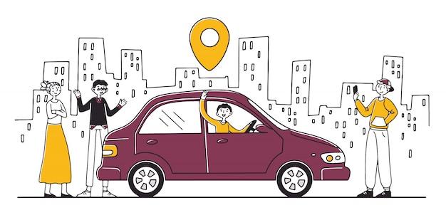 Usługa Współdzielenia Samochodu Premium Wektorów
