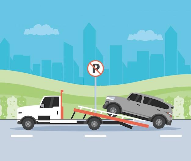 Usługi dźwigów samochodowych w scenie strefy parkowania Premium Wektorów