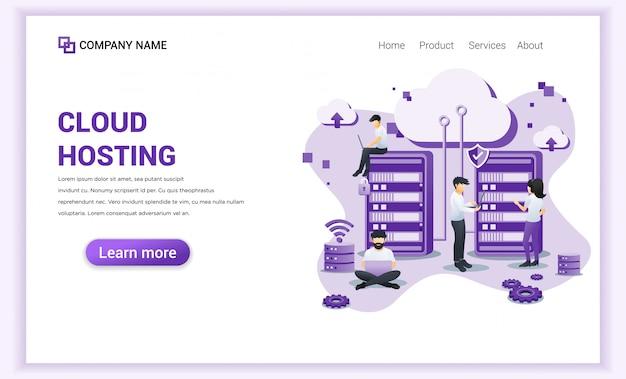 Usługi hostingowe w chmurze, pamięć cyfrowa, strona docelowa centrum danych Premium Wektorów