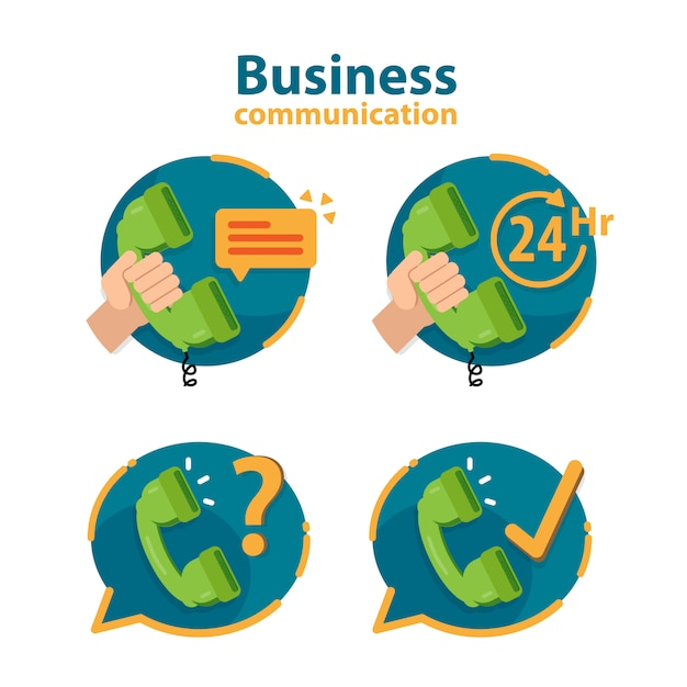 Usługi Ikona 24 Godziny, Obsługa Klienta, Obsługa Call Center. Premium Wektorów