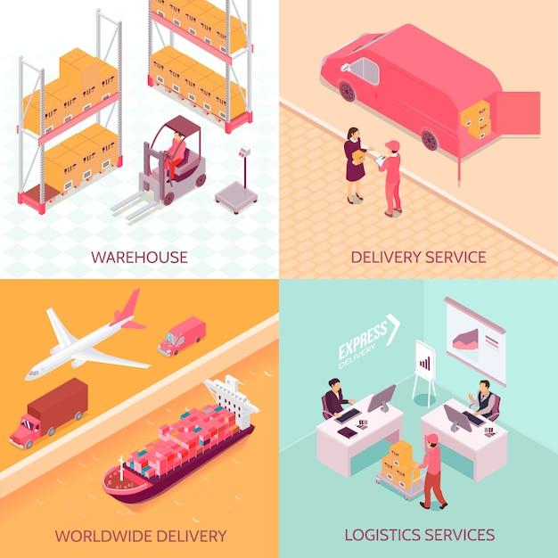 Usługi Logistyczne Izometryczne Darmowych Wektorów