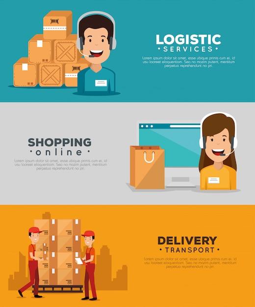 Usługi logistyczne z agentem wsparcia i zestawem banerów komputerowych Darmowych Wektorów