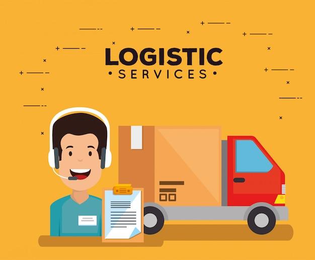 Usługi logistyczne z agentem wsparcia Darmowych Wektorów
