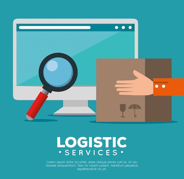 Usługi logistyczne z komputerem Darmowych Wektorów