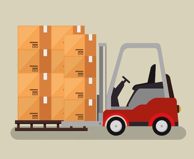 Usługi logistyczne z wózkiem widłowym Darmowych Wektorów