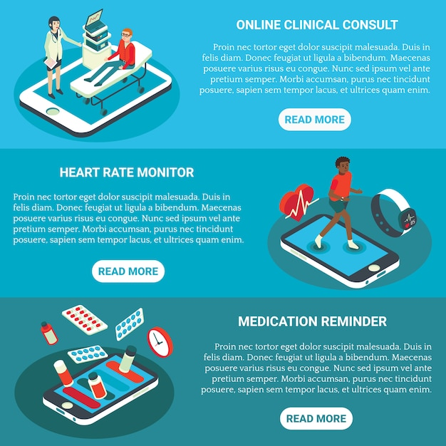 Usługi Medyczne Online Płaski Izometryczny Poziomy Baner Premium Wektorów