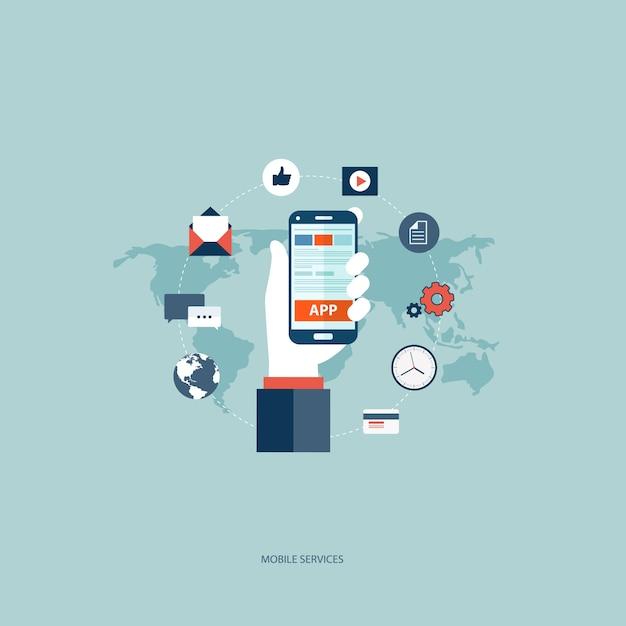 Usługi mobilne koncepcji Darmowych Wektorów