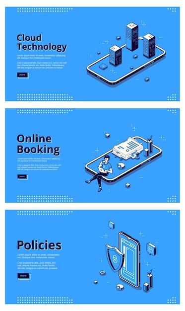 Usługi Online Dla Telefonów Komórkowych. Pojęcie Technologii Internetowych, Systemy Cyfrowe Dla Smartfonów. Wektor Zestaw Banerów Technologii Chmury, Rezerwacji Online I Zasad Z Ilustracjami Izometrycznymi Darmowych Wektorów