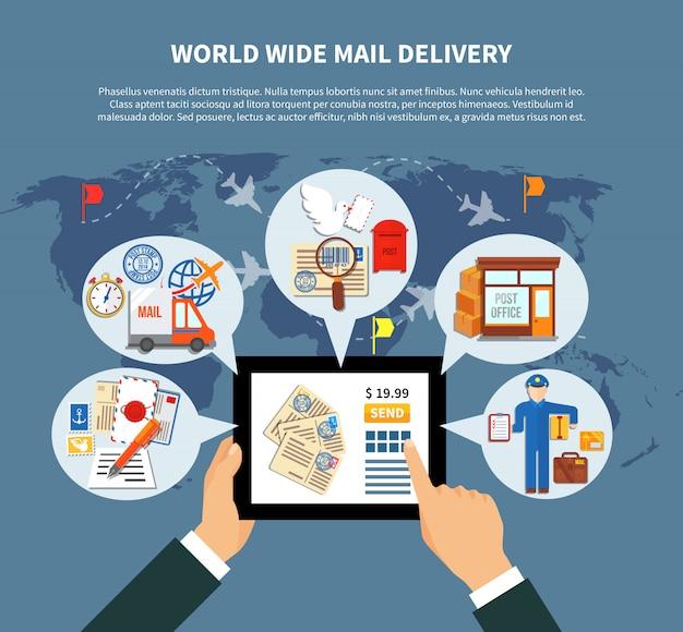 Usługi online w zakresie usług pocztowych Darmowych Wektorów