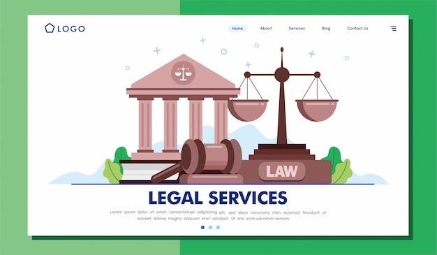Usługi Prawne Landing Page Witryny Ilustracji Wektor Premium Wektorów