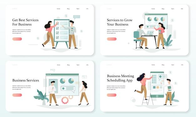 Usługi Rozwijające Zestaw Banerów Internetowych Dla Twojej Firmy Premium Wektorów