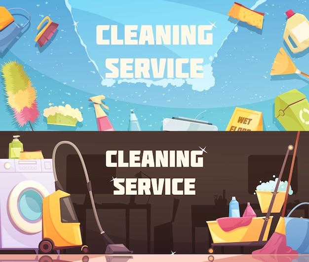 Usługi sprzątania banery poziome Darmowych Wektorów