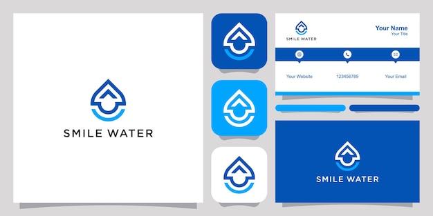 Uśmiech Wody Logo I Wizytówkę. Premium Wektorów