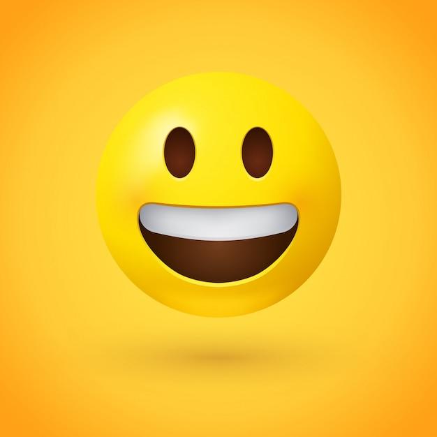 Uśmiechający się emoji twarzy z uśmiechem pokazującym górne zęby Premium Wektorów