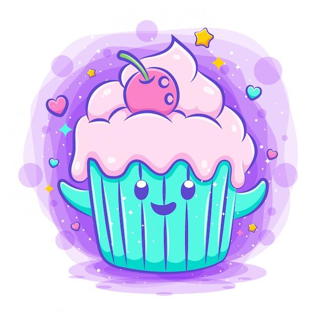 Uśmiechający Się ładny Kawaii Kreskówka Cupcake Znaków Premium Wektorów