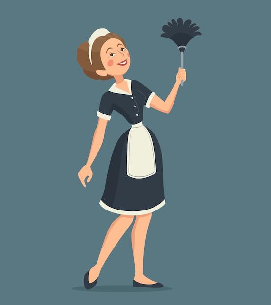 Uśmiechnięta cleaning kobiety ilustracja Premium Wektorów