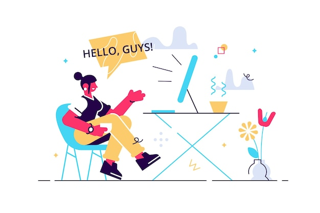 Uśmiechnięta Kobieta Influencer Rozmawia Kręcenie Wideo Na żywo Przed Ilustracją Laptopa. Premium Wektorów