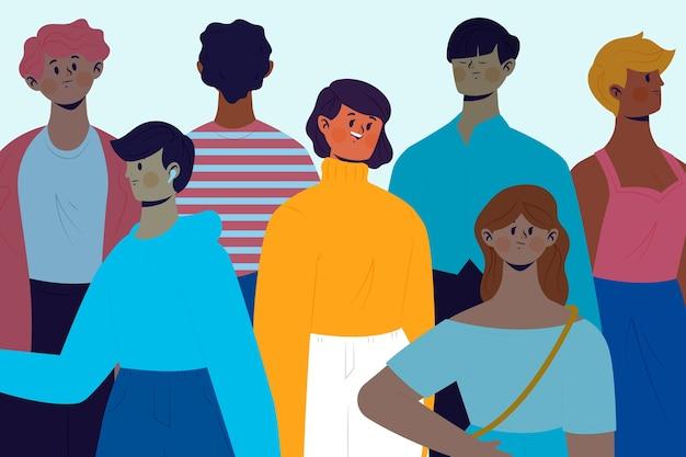 Uśmiechnięta Osoba W Tłumu Temacie Dla Ilustraci Darmowych Wektorów