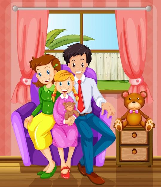 Uśmiechnięta Rodzina W Domu Darmowych Wektorów