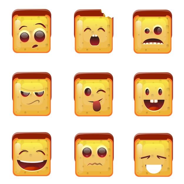 Uśmiechnięte emotikon twarz pozytywne i negatywne ikony Premium Wektorów