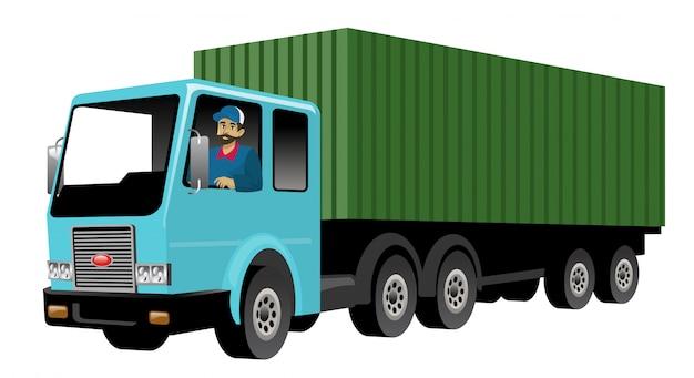 Uśmiechnięty Kierowca Ciężarówki Jedzie Dużą ładunek Ciężarówkę Premium Wektorów