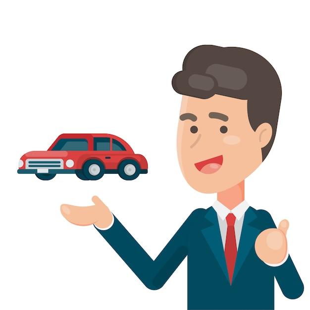 Uśmiechnięty Sprzedawca Pokazuje Samochód Premium Wektorów