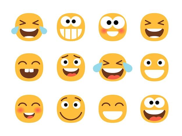 Uśmiechnięty Zestaw Emotikonów Kreskówek Premium Wektorów