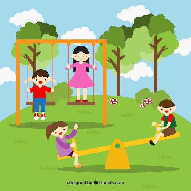 Uśmiechnięty Znajomych Zabawy W Parku | Darmowy Wektor