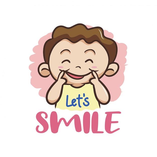 Uśmiechnij sie! z kid character vector Premium Wektorów