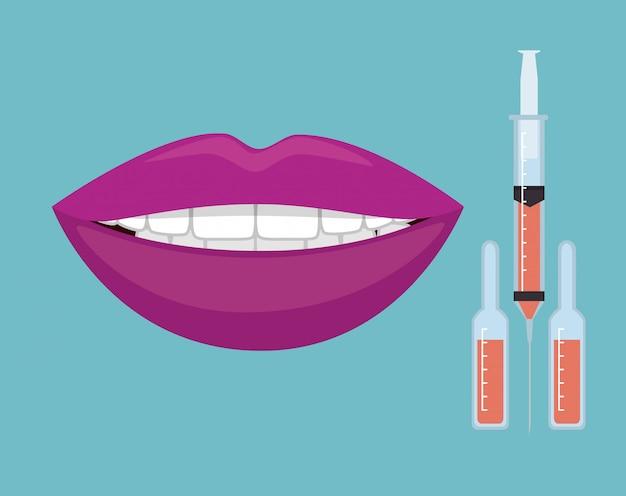 Usta kobiety z zastrzykami botoksu Darmowych Wektorów