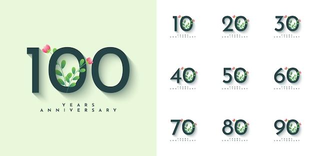 Ustaw 10 T0 100 Lat Rocznica Ilustracja Szablon Projektu Premium Wektorów