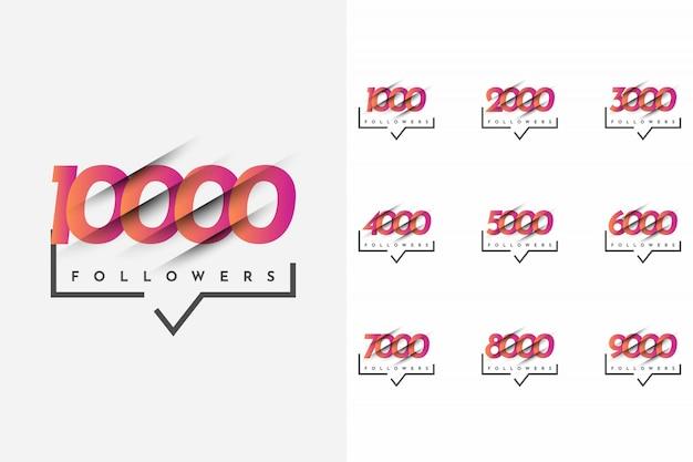 Ustaw 1000 Do 10000 Obserwujących Szablon Premium Wektorów