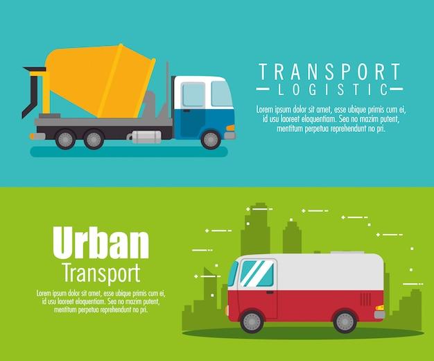 Ustaw Baner Ciężarówka Usługi Dostawy Darmowych Wektorów