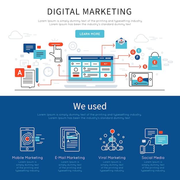Ustaw Baner Marketingu Cyfrowego Darmowych Wektorów