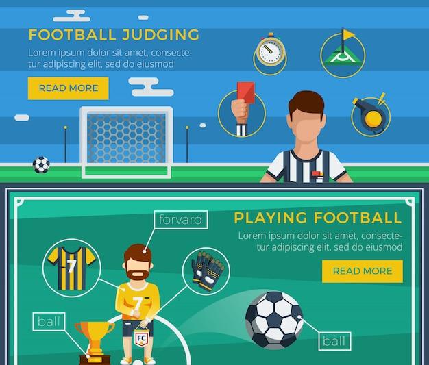 Ustaw baner piłki nożnej Darmowych Wektorów