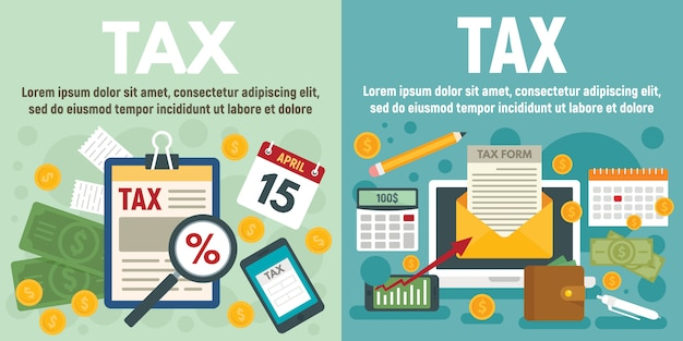 Ustaw baner podatkowy Premium Wektorów