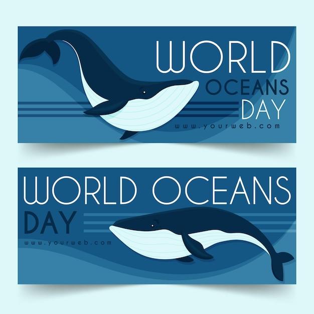 Ustaw Baner światowy Dzień Oceanów Darmowych Wektorów